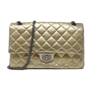 Chanel 2.55 Reissue Jumbo Double Flap Chevron Gold Leather Handbag