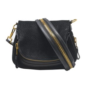 Tom Ford Medium Jennifer Zipper Black Suede Shoulder bag