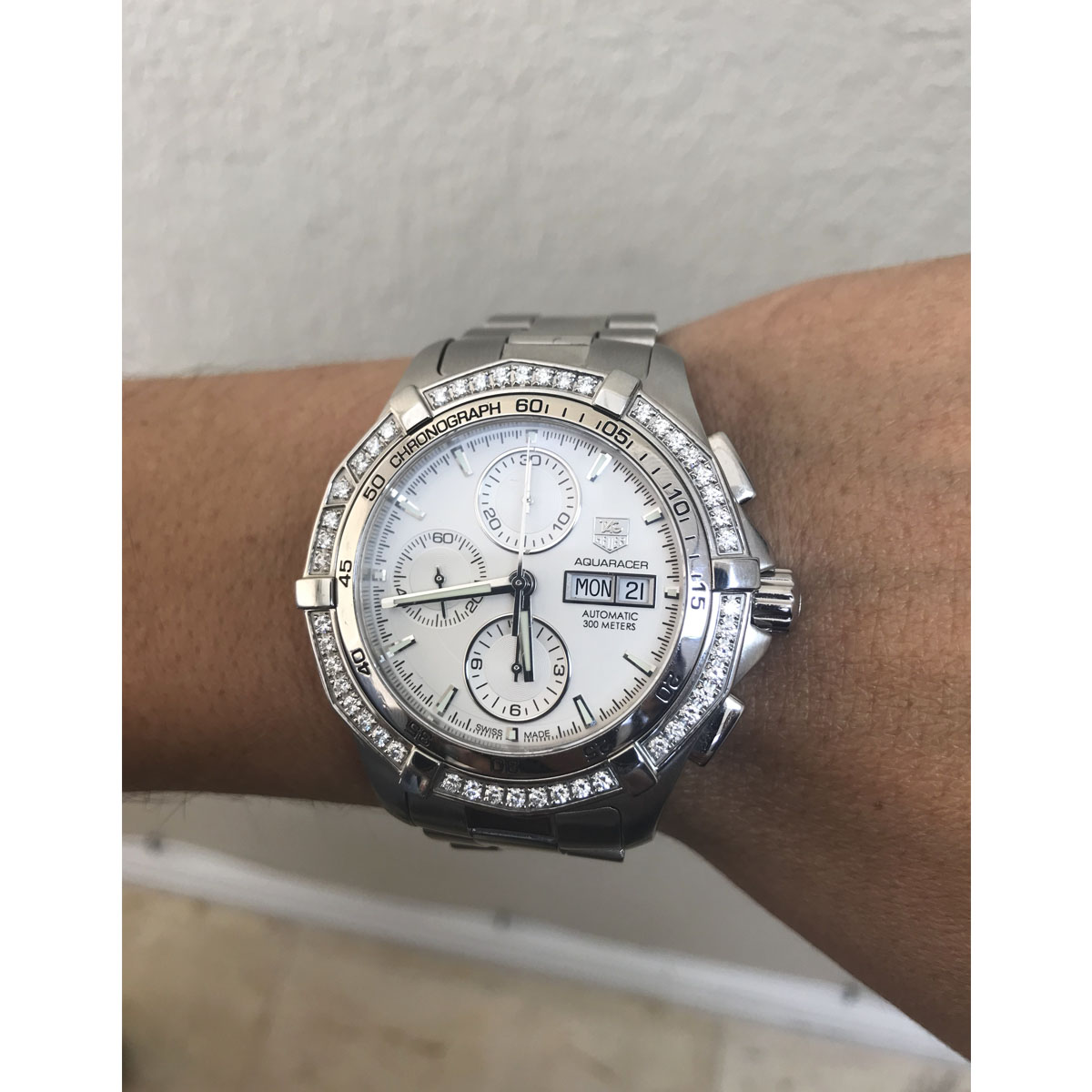 TAG Heuer White Caf2015 Aquaracer Stainless Steel Diamond Bezel Watch