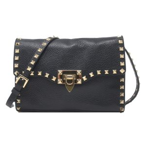 Valentino Gariavani Rockstud Medium Black Crossbody Shoulder Bag