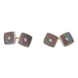 14k Two-Tone Mother of Pearl Diamond Cufflinks Approx 0.06 TCW