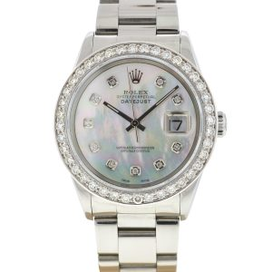 Rolex 16200 Datejust Stainless Steel MOP Diamond Dial Watch