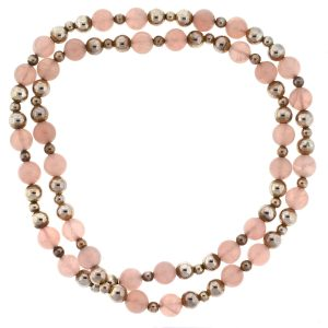 Tiffany & Co. Sterling Silver Rose Quartz Bead Necklace