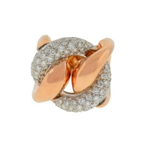 18k Rose Gold Pave Diamond Free Form Rings Approx 2.32TCW