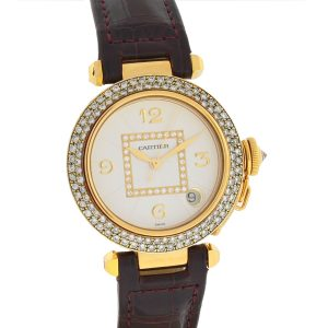 Cartier Pasha 18k Yellow Gold Factory Dial Aftermarket Diamond Bezel Watch
