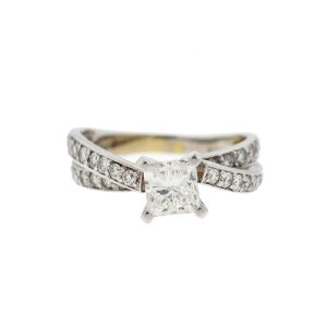 14k White Gold Princess Cut Diamond Engagement Ring Approx 2.00 TCW
