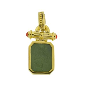 18k Yellow Gold Green Intaglio With Carnelian Sides Pendant