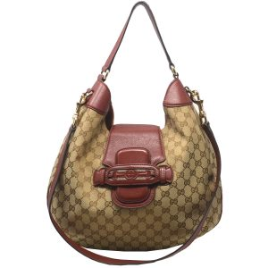 Gucci Guccissima Brown Monogram with Red Trim Shoulder Bag