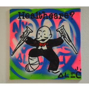 """Authentic Original Alec Monopoly Acrylic """"HEALTHCARE"""" Painting With COA 2011"""