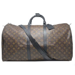 Louis Vuitton Keepall 55 Bandouliere Monogram Macassar Canvas Duffel Bag