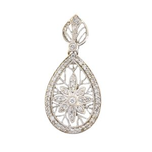 14k White Gold Diamond Flower Tear Drop Pendant Approx. .25 TCW
