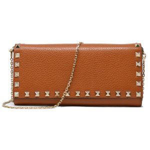 Valentino Garavani Rockstud Brown Pebbled Leather WOC