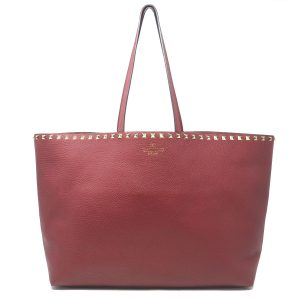 Valentino Garavani Rockstud Red Pebbled Leather Vitello Tote Bag