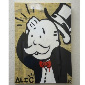 "Authentic Original Alec Monopoly Acrylic ""Confused"" Painting With COA"