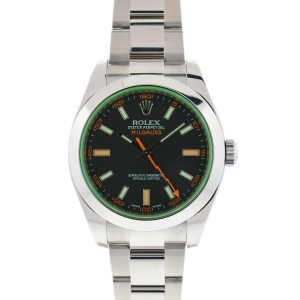 Rolex 116400GV Milgauss Green Crystal Black Dial Automatic Watch