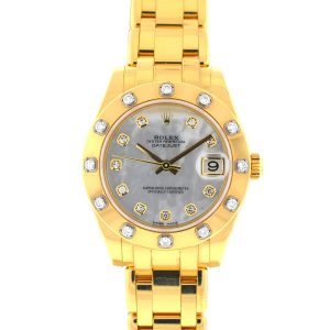 Rolex 81318 Masterpiece Pearlmaster 34 18k Yellow gold MOP Diamond Dial Watch