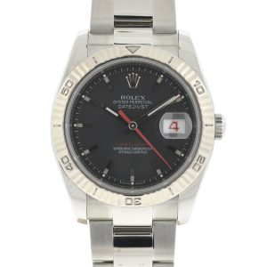Rolex 116264 Datejust Turn-O-Graph Stainless Steel Black Dial Automatic Watch