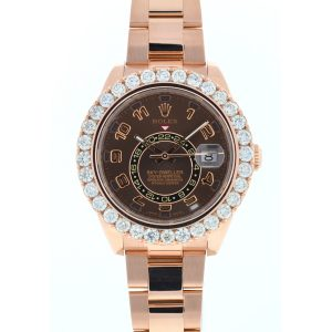 Rolex 326935 Sky-Dweller 18k Rose Gold Chocolate Dial Diamond Bezel Watch
