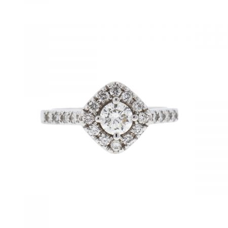 14k White Gold Diamond Engagement Ring Approx 1.00 TCW