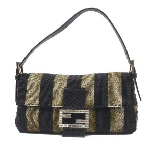 Fendi Sequin Baguette Black and Gold Handbag