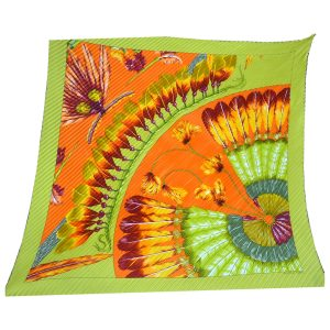 Hermès Green and Orange Fringe Silk Scarf
