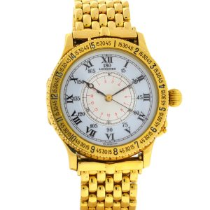 Longines Lindbergh Hour Angle 989.5216 18k Yellow Gold Watch