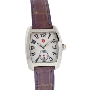Michele Mini Urban Purple Alligator Leather Strap Ladies Watch