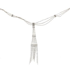 Tiffany & Co. 18k White Gold Three Strand Tassel Necklace