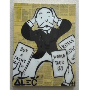 "Authentic Original Alec Monopoly Acrylic ""What to Buy "" Painting With COA 2011"