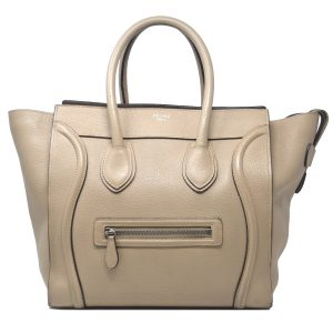 Céline Mini Luggage Beige Leather Tote Handbag