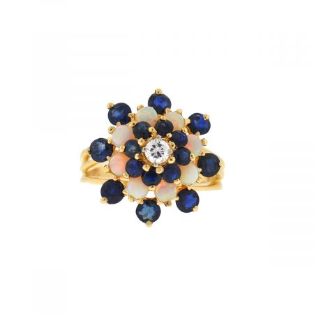 14k Yellow Gold Diamond Sapphire and Opal Cluster Ring
