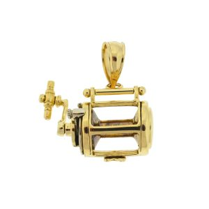 14k Yellow Gold Fishing Reel Pendant