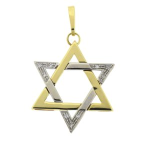 14k Two Tone Star of David Diamond Pendant