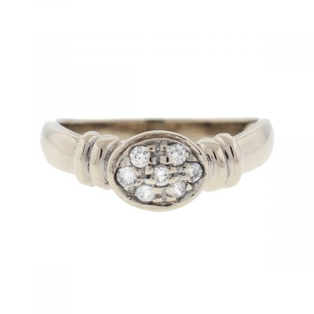 18k White Gold Oval Diamond Stack-able Ladies Ring