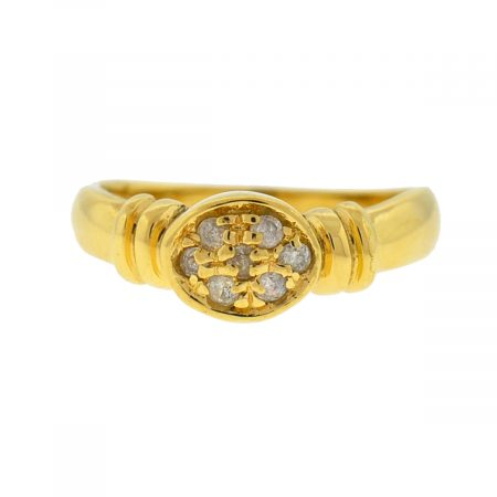 18k Yellow Gold Oval Diamond Stack-able Ladies Ring