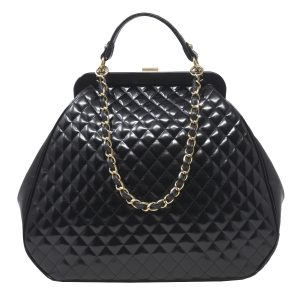 Chanel Mademoiselle GHW Black Quilted Patent Leather Handbag