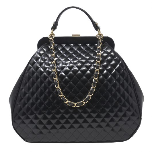 5d2ed7a0f467 Chanel Mademoiselle GHW Black Quilted Patent Leather Handbag ...