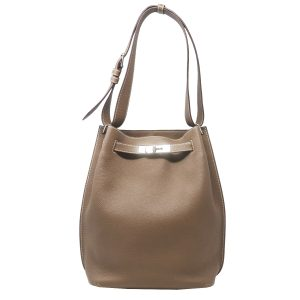 Hermes Clemence So Kelly 22 Toupe Leather Shoulder Bag