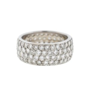 14k White Gold 4 Rows Pave Diamond Eternity Band Ring