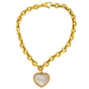 058370b7a Tiffany & Co. 18k Yellow Gold Diamond Mother of Pearl Heart Pendant Bracelet