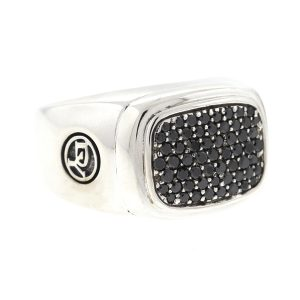 David Yurman Wide Pave Black Diamonds Signet Sterling Silver .925 Mens Ring