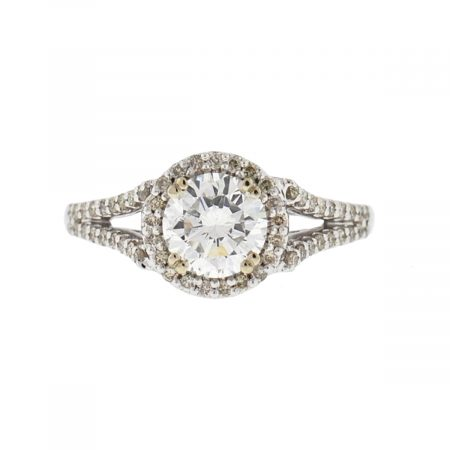 14k White Gold Diamond Halo Engagement Ring 1.11 RB Ct H SI2 GIA Certified