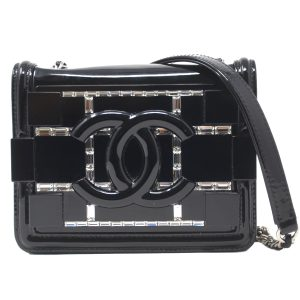 Chanel Lego Black PlexiGlass Crystal Mini Boy Brick Crossbody
