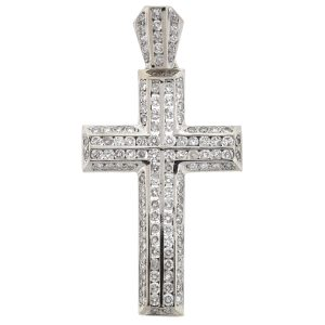 14K White Gold Diamond Cross Pendant Approx 2.55 TCW