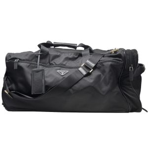 Prada Black Nylon Leather Wheeled Carry-On Duffel Bag