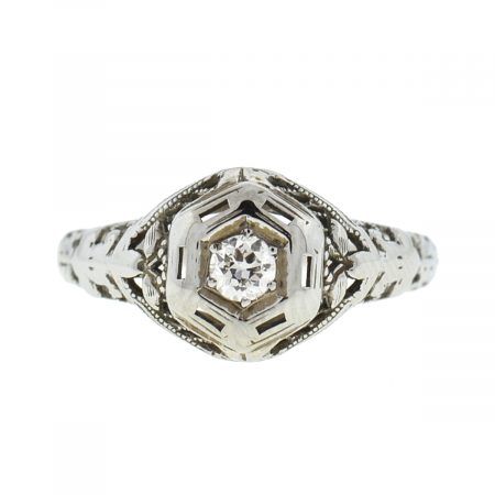 18k White Gold Vintage Diamond Engagement Ring Approx .10 Cts