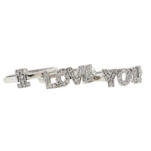 "14k White Gold ""I LOVE YOU"" Stackable Diamond Ring"