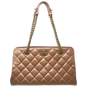 Chanel Quilted Brown Leather Shopper Tote Shoulder Bag