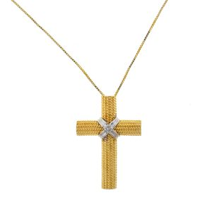 14k Yellow Gold Two Tone Cross Pendant Necklace
