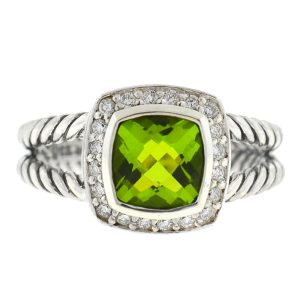 David Yurman Petite Albion Peridot Diamond Sterling Silver Ring